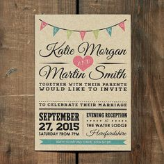 Wedding invitation suite printed on our 100% recycled Kraft board. Choose from matching Save the Dates, RSVP Cards, Place Name Tags, Orders of Service,Thank You Cards and much more. High...