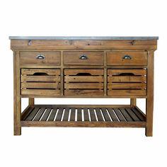 Ilot de cuisine CAPE COD avec tiroirs et niches Longueur 130cm prix promo Buffet de cuisine Delamaison 649.00 €