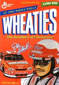 One of four collector's edition Sam Bass Wheaties Box designs. Dale becomes first race car driver to appear on box of Wheaties. Nascar Race Tracks, Nascar Racing, Race Cars, General Mills Cereal, The Intimidator, Nascar Sprint Cup, Breakfast Of Champions, Dale Earnhardt Jr, Sports Figures