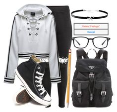 """""""Rotten to the core//"""" by tell-me-pretty-lies ❤ liked on Polyvore featuring Puma, Converse, Prada, Paper Mate, Ray-Ban and Giani Bernini"""