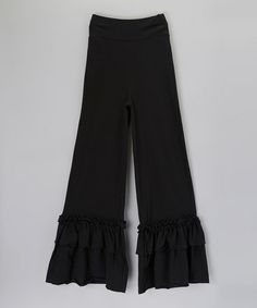 Take a look at this Black Ruffle Pants - Women by Boutique Basics on #zulily today!