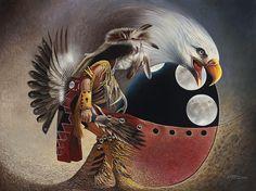 Three Moon Eagle Painting  - Three Moon Eagle Fine Art Print