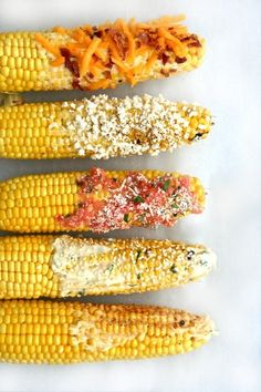 "Pick up sweet corn at the farmers market and have a ""Build Your Own Corn Cob"" bar for dinner!"