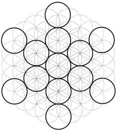 This shows the Fruit of Life inside of Metatron's Cube, and both of them inside the Flower of Life. Yoga Symbole, Spirit Tattoo, Sacred Geometry Symbols, Mandala Symbols, Platonic Solid, Geometry Pattern, Spirit Science, Crystal Grid, Flower Of Life