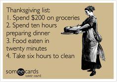 Thanksgiving list: 1. Spend $200 on groceries 2. Spend ten hours preparing dinner 3. Food eaten in twenty minutes 4. Take six hours to clean.