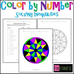 Solving Inequalities Color by Number from Funrithmetic Algebra Activities, Teaching Math, Algebra Games, Teaching Resources, Solving Linear Equations, Math Notes, 7th Grade Math, Secondary Math, Guided Math