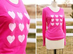 Great site for Re-purposing kids and adult clothes. I love this cookie cutter heart shirt.