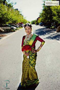 Traditional Tamil Hindu bridal makeup,hair and saree pinning by Angell Liu @ Angell's beauty, www.angellsbeauty.com