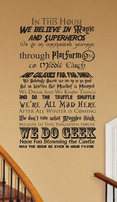 This is our original poem mash up. Show you are a fan of all things GEEK with our original geekery inspired wall decal. Put it on your door or wall as a welcome and note that We Do Geek. This poem if you will we designed to try and fit in as many items as we could. It is fully customizable (SEE PHOTOS), including size and if you only want part of the poem. Every fan should own one of these for their home, apartment, bedroom, dorm room, etc. Makes a great addition for a kids room and is much…