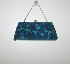 4edc0579c2db Items similar to Vintage 1950s 1960s Velveteen Purse   50s 60s Blue  Velveteen Paisley Purse on Etsy
