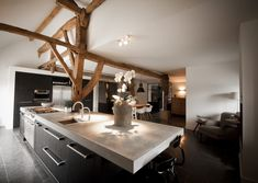 kitchen with antique oak beams, concrete workplate, fireplace and diningtable Interior, Rustic Contemporary, Home, Cool Rooms, Modern Kitchen, Interior Styling, Kitchen, Home Kitchens, Rustic Dining Table