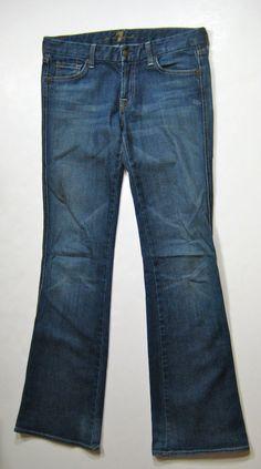 "7 FOR ALL MANKIND Medium Wash Stretch ""A Pocket"" Flare Denim Jean Size 28 #7ForAllMankind #BootCut"