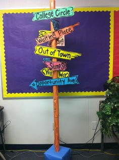 """""""Oh the places you'll go"""" street signs. We could do this with the names of the grade schools the kids will attend."""