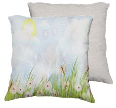 Sunny Day , Clouds, White Flowers , Butterflies - Pillow
