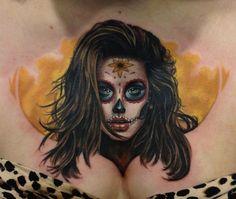 Tattoo by Randy Engelhard State Tattoos, Bad Tattoos, Body Art Tattoos, Girl Tattoos, I Tattoo, Tattoos For Women, Tatoos, Sugar Skull Girl Tattoo, Fresh Tattoo