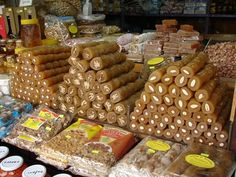 Cyprus sweets (soutzoukos),A traditional sweets made from grape juice and filled with almond nuts or wallnuts. Delicious !!!