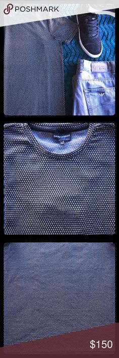 Emporio Armani Soft stretch jersey in a two-tone print brings easy comfort and visual appeal to a trim-fittingJacquard T-Shirt from Emporio Armani crewneck styling. Short sleeves 98% viscose, 2% elastane Hand wash cold, dry flat Made in Italy Emporio Armani Shirts Tees - Short Sleeve
