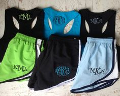 3 Monogrammed Running Shorts and Tank Sets by CutiesforCuties, $130.00