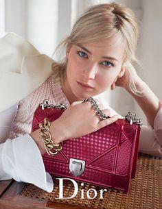 Jennifer Lawrence poses with the label's Diorama handbag in pink for Dior spring-summer 2016 handbag campaign