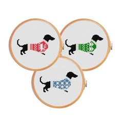 Looking for your next project? You're going to love Cross stitch pattern CRISTMAS DACHSHUND by designer Patterns Cross stitch.