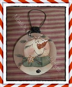 Hand Painted Wood Country Snowman  Ornament by Marie's Country Woodcrafts $8.50
