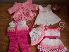 "Free crochet 18"" doll patterns at Crochetville.com    Pretty dress, tops, skirt, pants and poncho for your 18"" American Girl Doll. Crochetville.com"