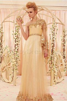 Retro One Shoulder Long Sleeve Satin Evening Dresses Gold