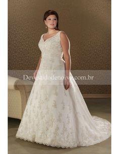 Decote em V Linha-A Tule Vestidos Noiva tamanho Grande