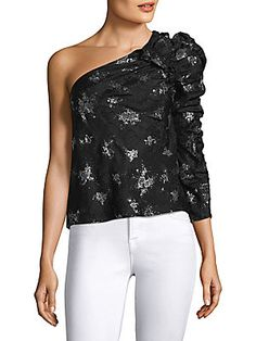 236e9a07d9 Rebecca Taylor - One-Shoulder Glitter Top