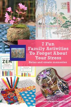 I've gathered together 7 fun family activities from our blog that we've done to relieve stress. I hope you'll find them useful, too #familyfun #forgetstress #zenyourself Fun Games, Games For Kids, Adult Coloring, Coloring Books, Books About Kindness, Homeschool Curriculum, Homeschooling, Blossom Garden, Japanese Water