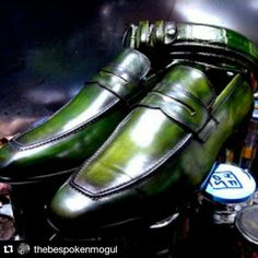 DARK GREEN LOAFERS AND BELT HANDMADE IN HOLLAND