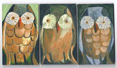 SALE 25 OFF Original Owl Painting titled Little by rinamiriam on ETSY!  pine cone feathers and papaver eyes or sand $ eyes