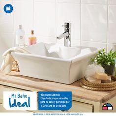Participa eligiendo todo lo que necesitas para el baño de tu sueños. Podrás ganar 2 Gift Card de $100.000. #ConcursoSodimac #MiBañoIdeal Sink, Bathtub, Ideas, Home Decor, Shopping, Spaces, Mosaics, Wood, Lugares