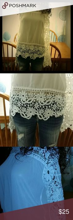 Beautiful long sleeve lace boutique top Size most likely will fit xs or small Beautiful top Lace on front top  Lace on back top Lace on Bottom front Lace on Bottom back  Lace on sleeves Tops Blouses