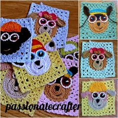 Paw patrol granny square.Crochet granny squares baby blanket, crochet bag or crochet pillow .All paw patrol crew crochet granny square