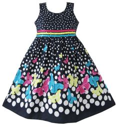 Girls Dress Navy Blue Butterfly Patry Princess Child Clothes Size 4-12 New