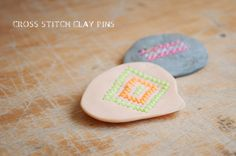 Clay Cross Stitch Pins - scent medallions for essential oil