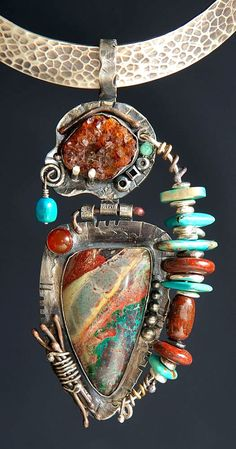 Sterling Silver, Arizona Bisbee Turquoise From The Lavendar Pit Mine, Crystal Spessartite Garnet, Morenci Turquoise, Fossil Dinosaur Bone, Carnelian, Copper