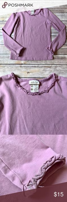 Matilda Jane Size 8, Matilda Jane, Lavender Lovely long sleeve tee, the Vault. Good used condition for light discoloration on the backside of wrist ruffle and overall washer wear. No stains besides wrist discoloration. See pics. Matilda Jane  Shirts & Tops Tees - Long Sleeve