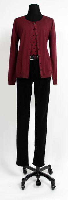 1.2.3 Paris - Gilet Chapitre / Tee shirt Anais / Pantalon Venice / Ceinture Ugo #mode #hiver #123 #bordeaux #pois #noir