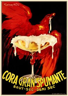 This vertical Italian wine and spirits poster features a red bird or falcon flying across the black background with a champagne glass. The beautiful Vintage Poster Reproduction is from our catalogue of over 1400 classic posters. Wine Advertising, Vintage Advertising Posters, Vintage Advertisements, Vintage Posters, Champagne Images, Vintage Champagne, Vintage Wine, Vintage Food, Retro Poster