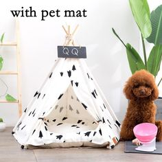The most adorable teepee you and your pup will ever have, no one can deny its adorable aesthetic. Doubling as cute decor for your home, it comes with a comfortable plush pillow, and a sealable entrance in case you want to store your pup's toys. Perfect for indoor and warm outdoor weather, you can't go wrong with this dog bed. Your pupper will thank you! Wash Style: Hand WashType: DogsMaterial: Canvas+CottonItem Type: Beds & SofasPattern: PrintWeight: 1-1.6kgSize: S,M,LNote: Included…