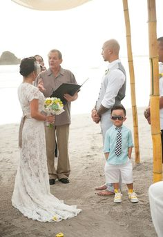 Lace! pretty pretty.. & I love the ringbearer's outfit!! precious.. especially for a fun, intimate beach wedding