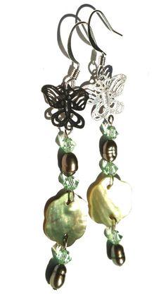 Green Butterfly and Flower Earrings Swarovski by LirielsCreations, $18.00