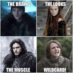 Game of thrones season 7 funny humour meme house Stark, Jon Snow, Arya Stark, Sophie Turner, Bran Stark Game Of Thrones Images, Game Of Thrones Meme, Casa Stark, House Stark, Game Of Trone, Game Of Thrones Instagram, New Aquaman, Get Instagram, Jokes
