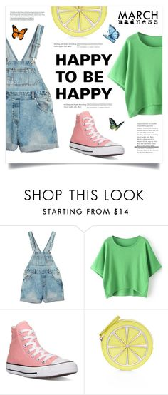 """""""Happy To Be Happy"""" by marina-volaric ❤ liked on Polyvore featuring Monki, Converse, Accessorize and hightops"""