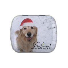 Golden Retriever Believe Christmas Jelly Belly Candy Tin by #AugieDoggyStore on Zazzle.