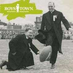 Father Flanagan kicking a football before a game at Boystown