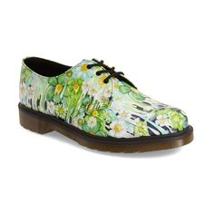"""Dr. Martens '1461' Oxford, 1 1/4"""" heel ($67) ❤ liked on Polyvore featuring shoes, oxfords, green paint slick leather, oxford shoes, floral print shoes, green platform shoes, leather lace up shoes and low heel shoes"""