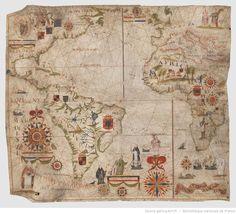 [Carte nautique de l'Océan Atlantique, de la Méditerranée et d'une partie de l'Océan Pacifique] / Dominguos Sanches a fes em Lisboa…